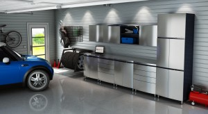 Contur Inox Stainless Steel Lifestyle Image - Okanagan Contur Garage Cabinets